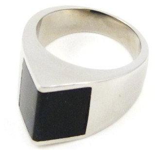 SSR1493 Black Onyx High Polish Stainless Steel Ring