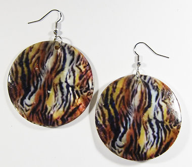 EA147 Animal Print Dangle Shell Earrings