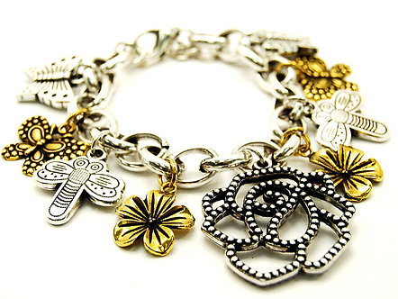 BR73 Two Tone Rose Flower Butterfly Chunky Charm Bracelet