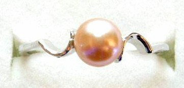 PR01 - 14K White Gold Plated Pink Pearl Ring