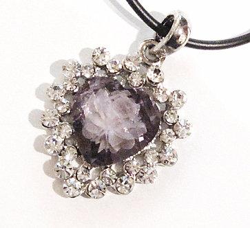 NP119 Purple Crystal Heart Rose Pendant Necklace