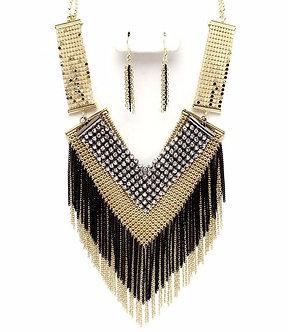 NP1007 Gold Black Mesh CZ Chains Statement Necklace Set