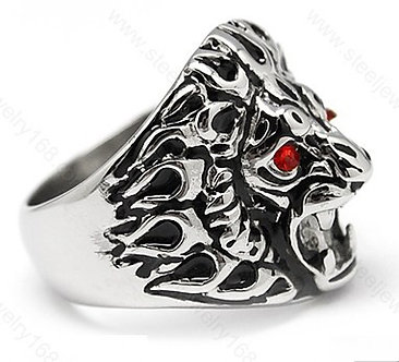 SSR04 Roaring Lion Red CZ Eyes Chunky Stainless Steel Ring