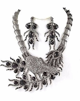 NP1142 Black Crystal Peacock Feather Statement Chunky Necklace Set