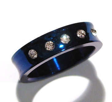 SSR7002 High Polish Dark Blue Concave CZ Stainless Steel Ring