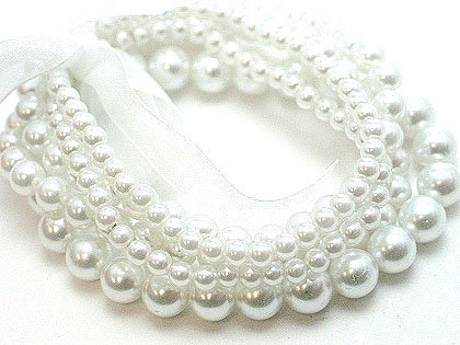 BR20 Multi Strands White Glass Pearls Ribbon Stretch Bracelet
