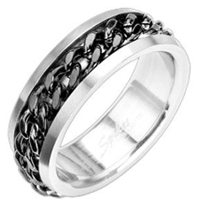 SSR1167 Spinning Black Chain Stainless Steel Rotating Ring