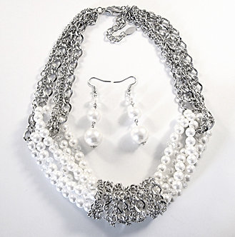 NP1029 Multi strands White Pearls Chains Necklace Earrings Set