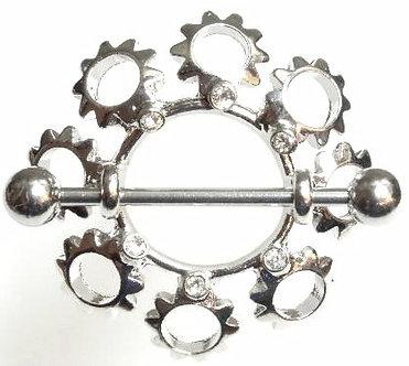 BJ60 - Pair of Crystal Sun Stainless Steel Nipple Rings Shields