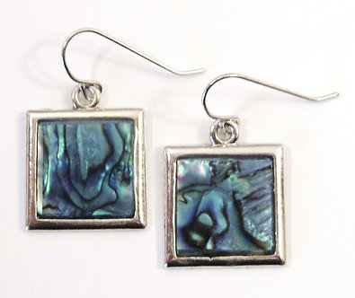 EA69 Square Abalone Shell Fish Hook Earrings