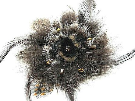 BP06 Pearls Crystal Brown Fur Feather Brooch