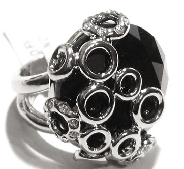 WR131 Exquisite Bubble Black Chunky CZ Rhodium Statement Ring