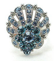 OS20 Blue Crystal Anti Tarnish Statement Cocktail Ring