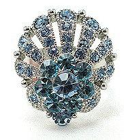 OS20 Blue Crystal Anti Tarnish Statement Cocktail Ring