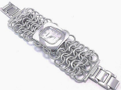 WW103 Textured and Shiny Stainless Steel Chain Link Watch