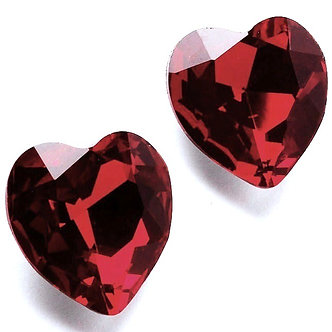 EA314 Ruby Swarovski Crystal HEART Stud Post Earrings