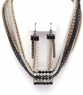 NP1012 Mesh Chains in CZ Paved Tube Chunky Necklace Set