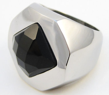 SSR5133 Chunky Faceted Black Onyx Stainless Steel Ring