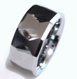TU3103 High Polish Multi Faceted Tungsten Carbide Ring