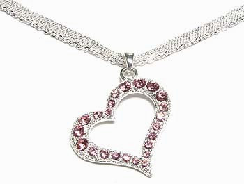 NP70 Multichain Pink Crystal Hollow Heart Pendant Necklace