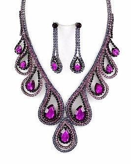NP1128 Clear / Purple CZ Acrylic Teardrop Crystal Graduating Necklace Set