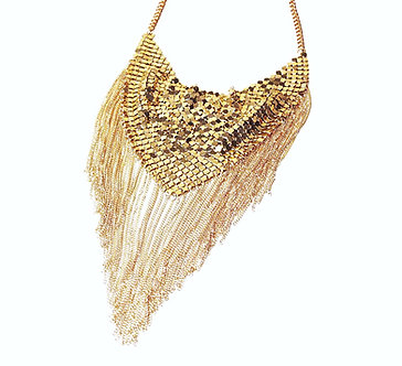 NP2002 Gold Fluid Mesh Scarf Dangling Chains Retro Chunky Necklace
