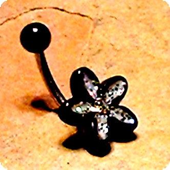 BJ151 Black Acrylic Glitter Flower CZ Belly Ring