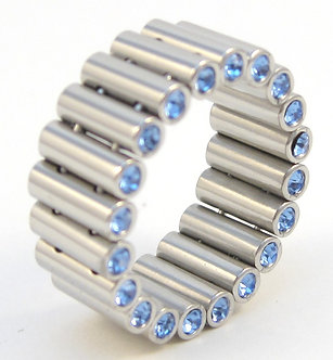 SSR4916 Blue CZ Tube Link Stainless Steel Ring