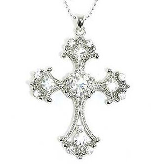 NP11 Clear Crystal Rhodium Finish Ball Chain Cross Pendant