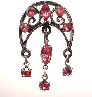 BJ01 Sexy Reversed Pink Crystal Chandelier Belly Ring 14G