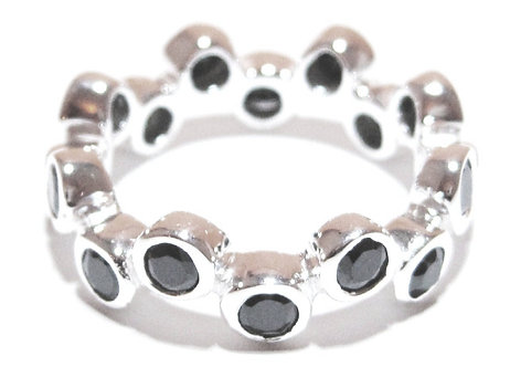 WR112 Sterling Silver Black CZ Bubble Eternity Ring