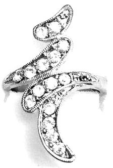 RR15 Sparkling Clear CZ Rhodium Finish Abstract Fashion Ring