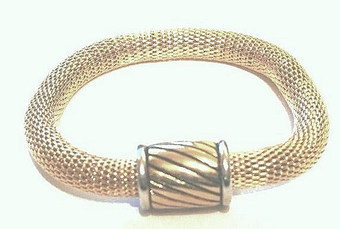 BR34 Magnetic Fastening Barrel 14K Gold EP Mesh Bracelet
