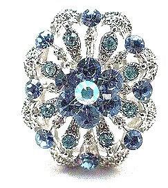 OS12 Blue Crystal Anti Tarnish Cocktail Ring