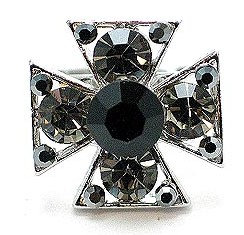OS16 Black Crystal Anti Tarnish Cross Ring