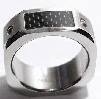 SSR1866 Carbon Fiber Octagonal Shape Stainless Steel Ring