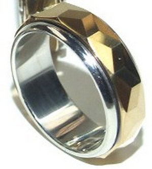 TU3000 Spinning Multi Faceted Gold Inlay Tungsten Carbide Ring Sz 10