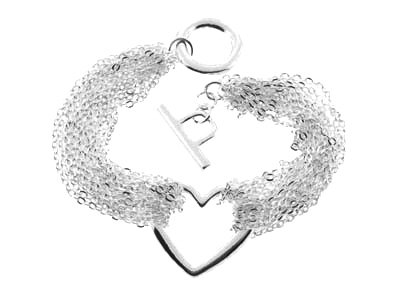 BR05 Multichain Heart Celebrity Style Rhodium Bracelet
