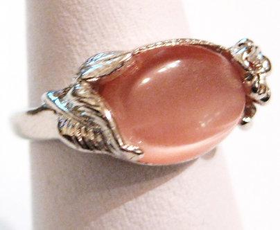 WR133 Pink Cat Eye Stone Rhodium Finish Ring