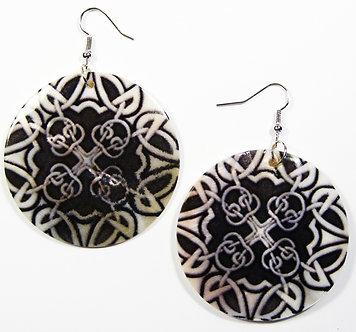 EA129 Unique Art Deco Pattern Shell Dangle Earrings
