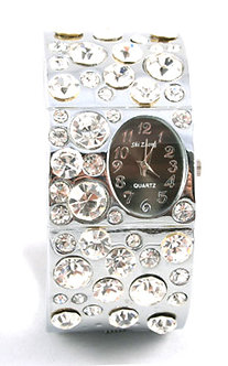 WW124 Crystal Pave Chunky Cuff Watch