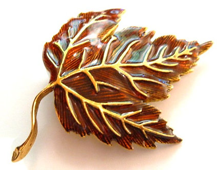 BP62-8 Large Colorful Autumn Leaf Crystal Brooch