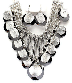 NP1034 Cascading Black Silver Discs Chains Chunky Necklace Set
