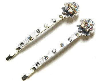 MSC10 Pair of Crystal Flower Silver Hair Pins
