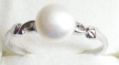 PR015 - 14K White Gold Plated Pink Pearl Ring