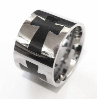 SSR1971 - 15mm Black Biker's Cross Stainless Steel Band Ring