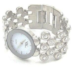 WW107 Stainless Steel Clear CZ Bubble Fashion Watch