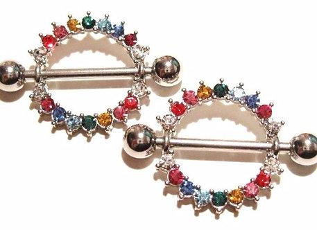 NP62 - Pair of Rainbow Gay Pride Nipple Rings Shields