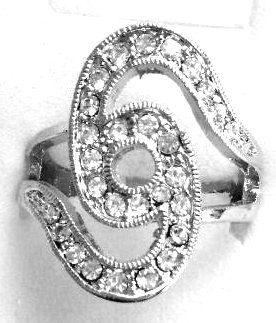 RR12 Sparkling Clear CZ Rhodium Finish Abstract Fashion Ring