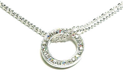 NP31 Double-Chain CZ Paved Circle of Life Choker Necklace